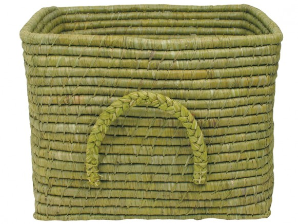 Square raffia basket in anis by RICE