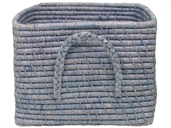 Square raffia basket in blue by RICE