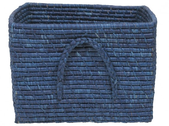 Square raffia basket in gendarme blue by RICE