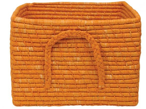 Square raffia basket in orange by RICE