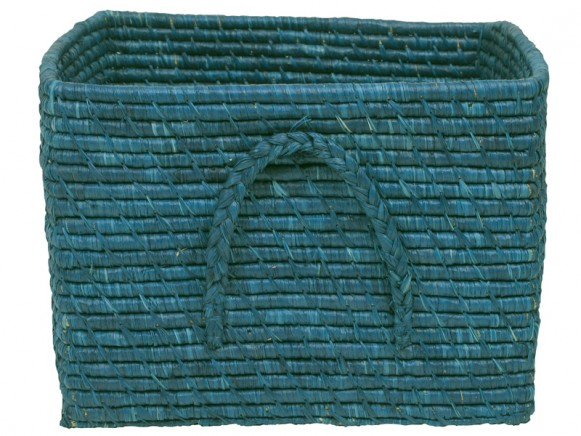 Square raffia basket in turquoise by RICE