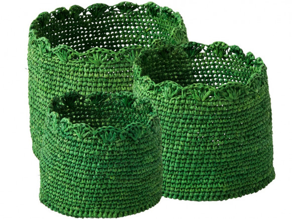 Small crochet storage baskets in green by RICE Denmark