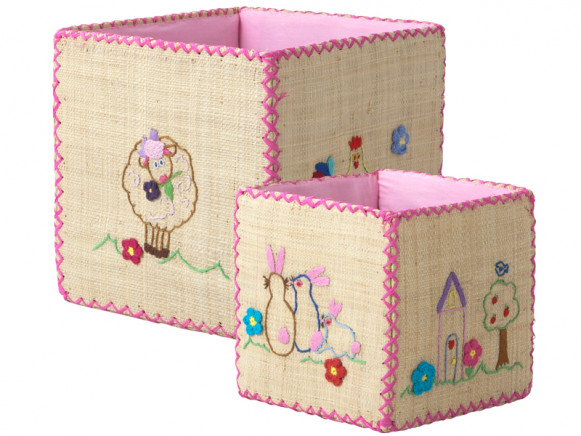 Toy basket set with animal embroidery by RICE