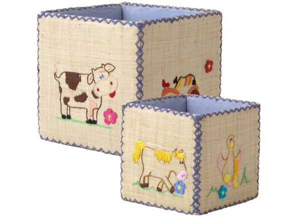 Toy basket set with duck embroidery by RICE