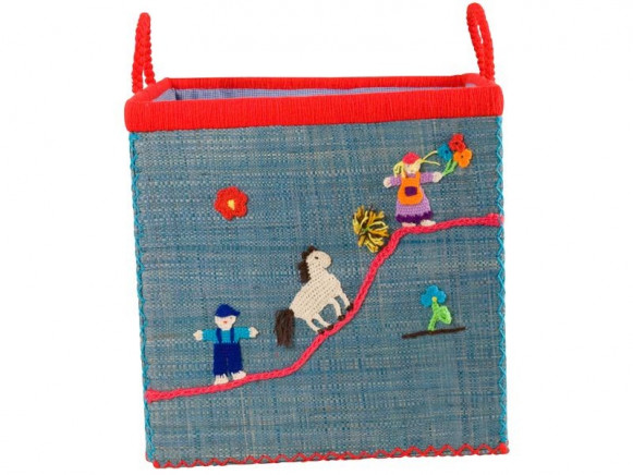 Large blue RICE toy basket with farm