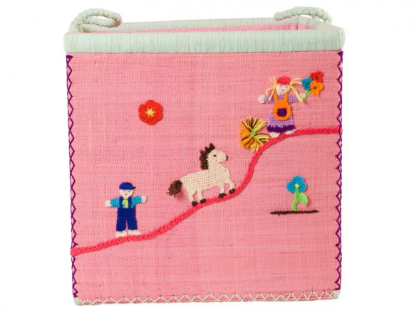 Large pink RICE toy basket with farm