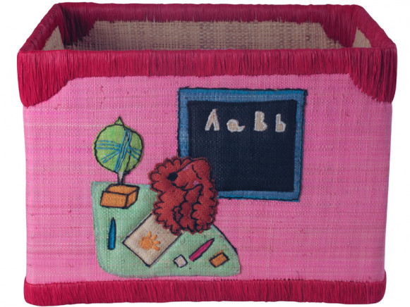 Large toy box in pink raffia with school by RICE Denmark