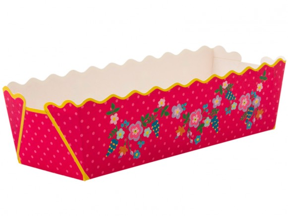 Paper baking tray with flower and dot print by RICE Denmark