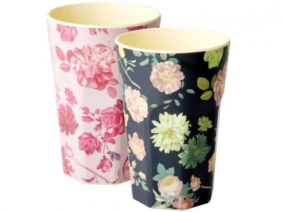 RICE Melamine Latte Cups FLOWER PRINT