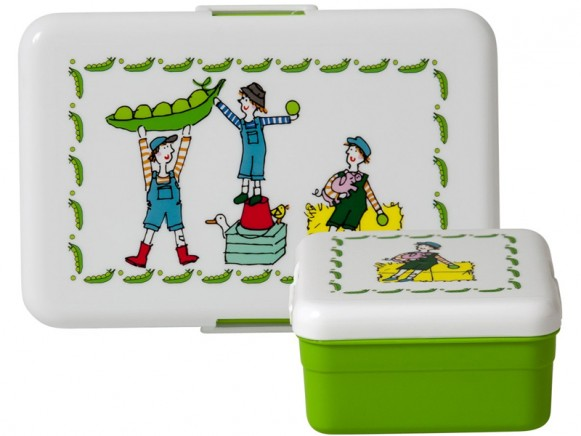 Lunch box set with playing farm boys by RICE