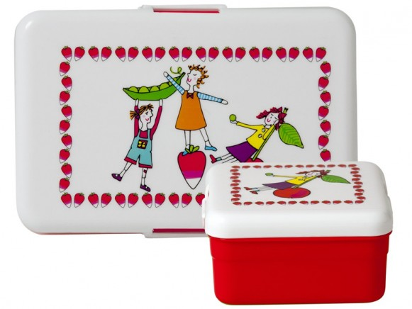 Lunch box set with playing garden girls by RICE