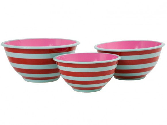 Mint and red striped mixing bowls by RICE