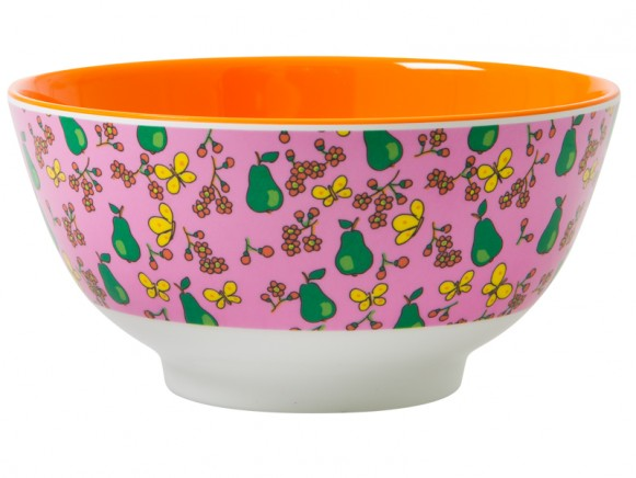 RICE melamine bowl with pear print