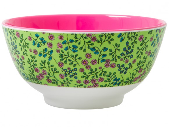 RICE melamine bowl with green flower print