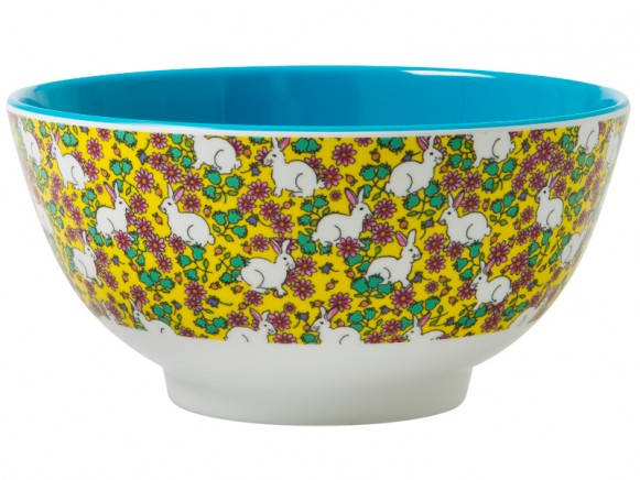 RICE melamine bowl with rabbit print