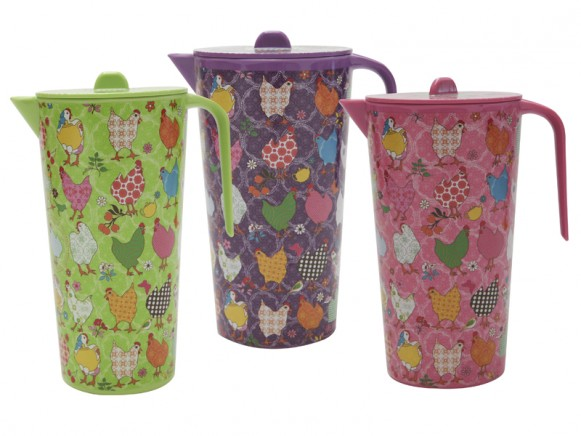 Jug with hen print in pink, purple or green by RICE