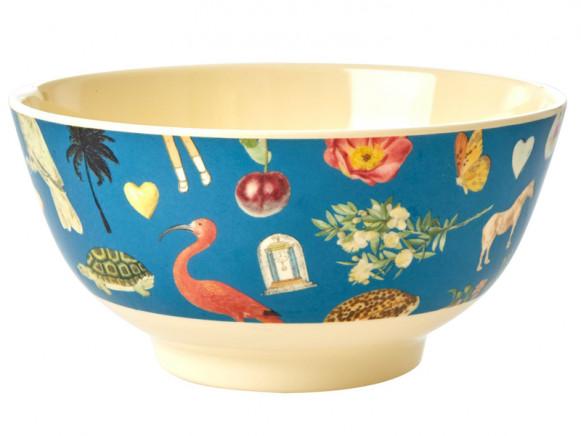 RICE Melamine Bowl ART PRINT blue