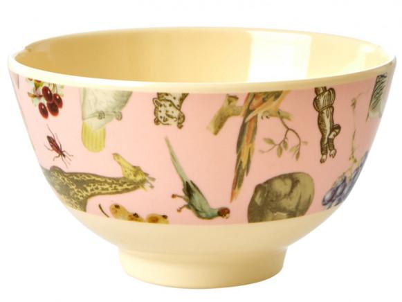 RICE Small Melamine Bowl ART PRINT pink