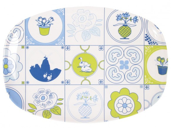 Melamine plate with blue mosaic by RICE