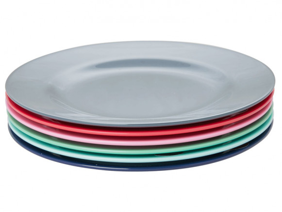 RICE 6 Melamine Side Plates BELIEVE IN RED LIPSTICK Colors