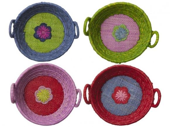 RICE Round Mini Basket FLOWER