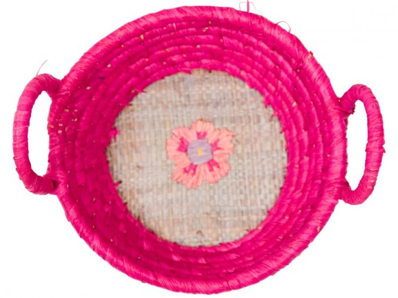 Round raffia mini basket in fuchsia with embroidery by RICE Denmark
