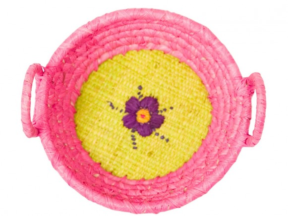 Round raffia mini basket in pink with embroidery by RICE Denmark