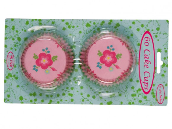 Cake cups with pink flower print by RICE