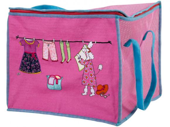 RICE plastic laundry hamper dog print pink