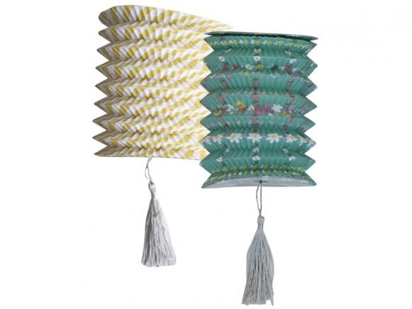 RICE Small Paper Lantern FLOWERS & STRIPES