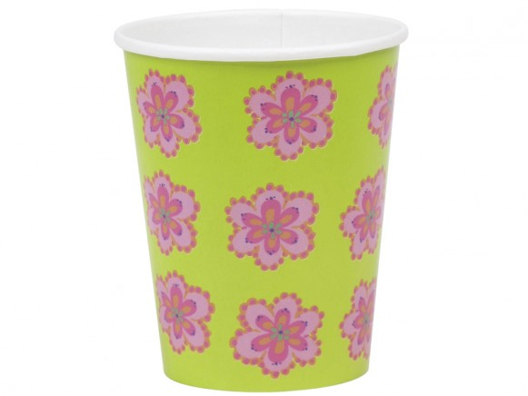 Paper cups with pink flower by RICE Denmark