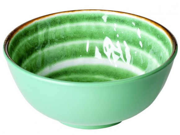 RICE Melamine Bowl with Swirl GREEN