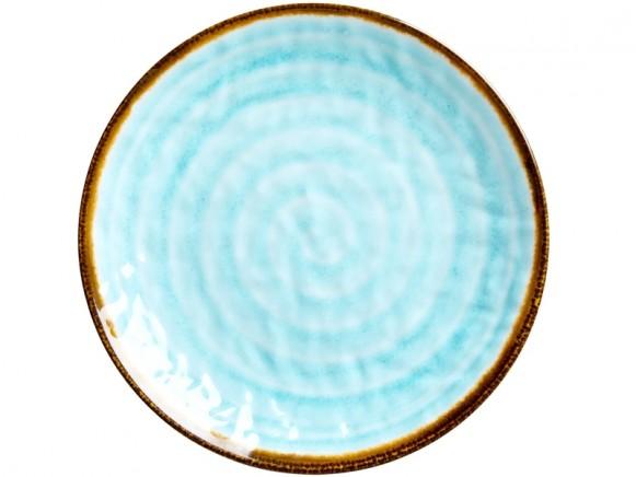 RICE Melamine Side Plate with Swirl AQUA