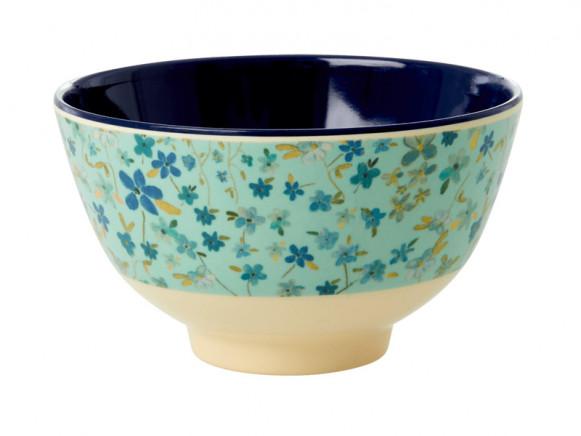 RICE Small Melamine Bowl BLUE FLOWER PRINT
