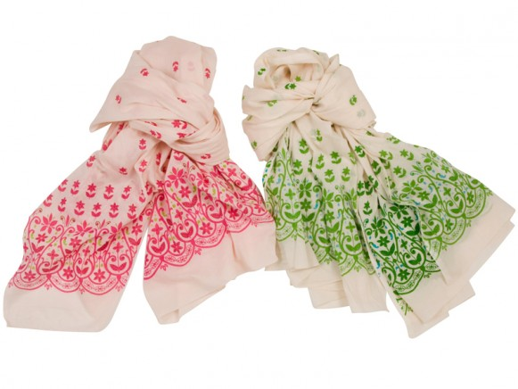 Natural voile scarf with flower print by RICE