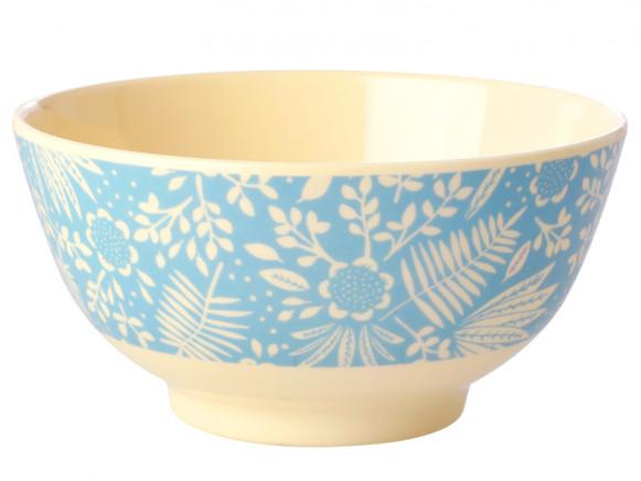 RICE Melamine Bowl FERNS & FLOWERS light blue
