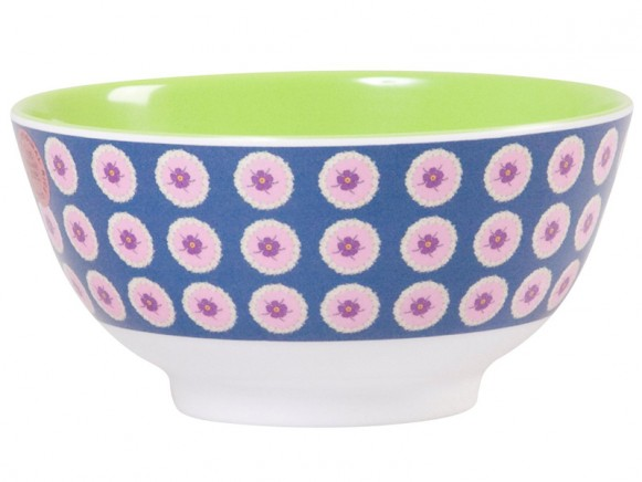 Melamine bowl two tone with dusty blue circle flower print by RICE