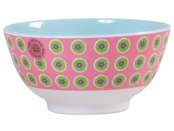 Melamine bowl two tone with pink circle flower print by RICE