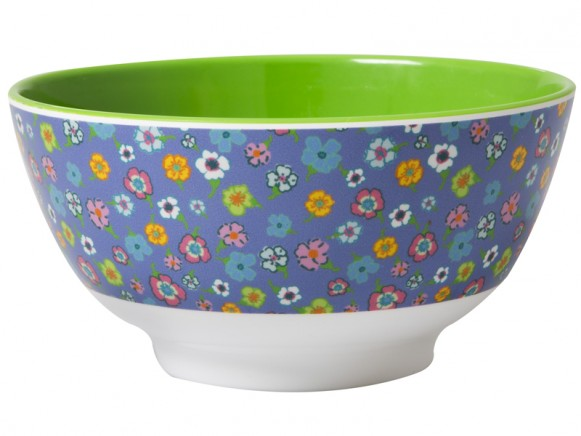 RICE melamine bowl in lavender with flowers