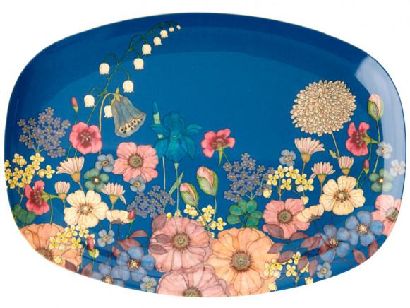RICE Rectangular Plate FLOWER COLLAGE