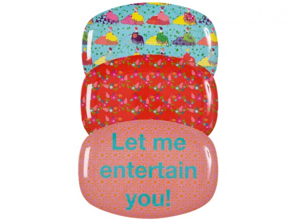 "Melamine plate ""Let me entertain you"" by RICE"