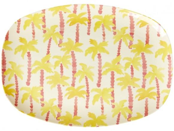 RICE Rectangular Plate PALM TREES