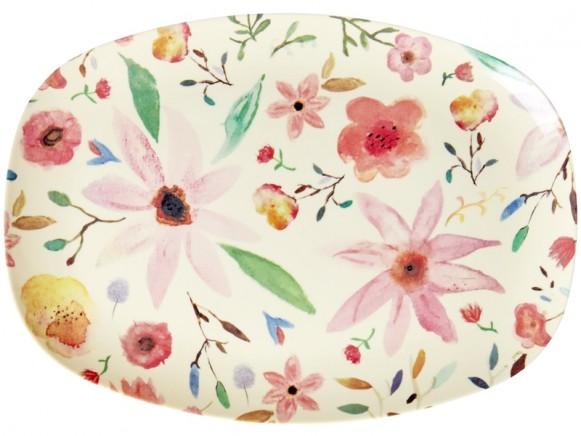 RICE Rectangular Plate SELMAS FLOWERS