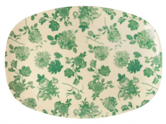 RICE Rectangular Plate GREEN ROSE