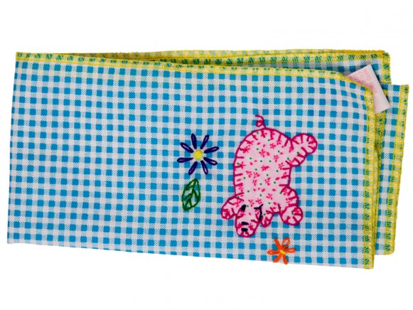 Blue checked napkin with pig application by RICE