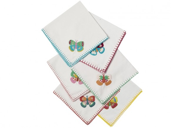 RICE 6 Fabric Napkins BUTTERFLY