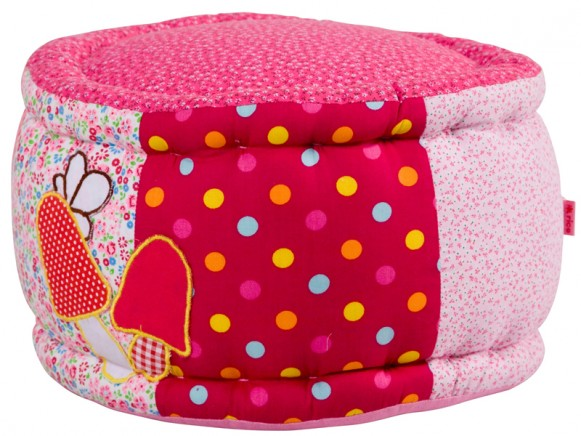 Girls mini patchwork pouffe with flower applications by RICE Denmark