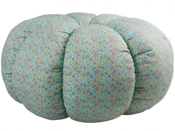 Pumpkin shaped pouffe with floral print by RICE Denmark