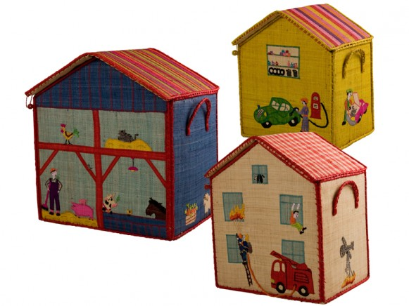House shaped toy baskets for boys by RICE