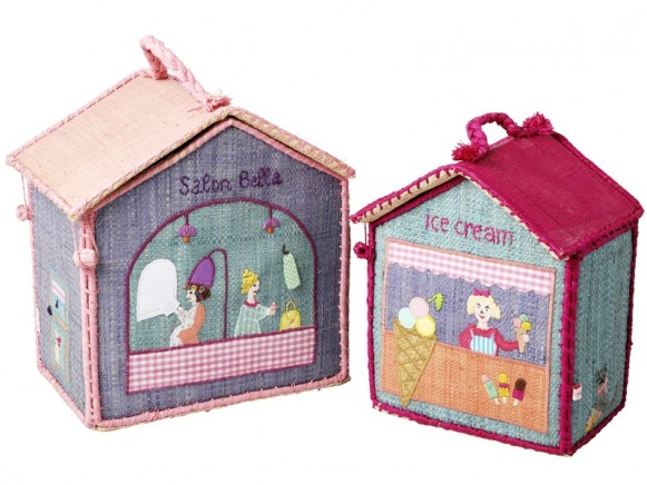 RICE Kids Raffia Bag BEAUTY SALON & ICE CREAM PARLOR